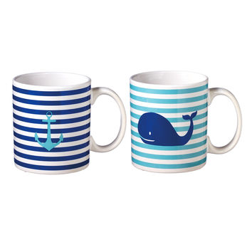 Whale and Anchor Coffee Tea Mug Gift Set of 2