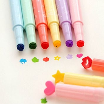 KitMax (TM) Pack of 12 Pcs Cute Cool Novelty Candy Color Seal Pen Tip Highlighter Office School Supplies Students Children Gift (Color May Vary)