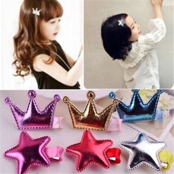 AKWZMLY Cute 4Pcs/lot Crown Hair Clips Leather Shiny Tiaras Star Hairpin for Kids Hair Accessories Princess Girls Bobby Pins