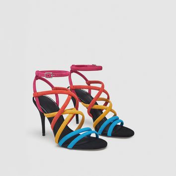 MULTICOLOURED LEATHER SANDALS DETAILS