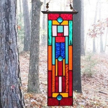 Sunscape stained glass panel gift glass art abstract art glass window treatment stained glass window