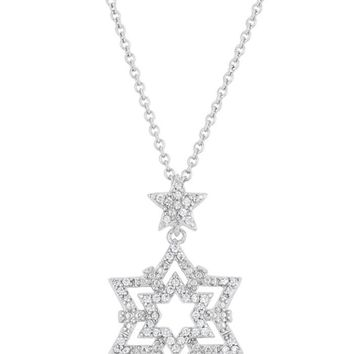 J Goodin Stella 0.3ct CZ White Gold Rhodium Star Drop Necklace