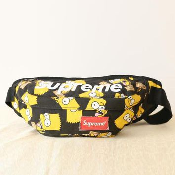 Supreme Stylish Unisex Casual Simpson Print Canvas Chest Package Outdoor Sports Bag Inclined Shoulder Bag Backpack