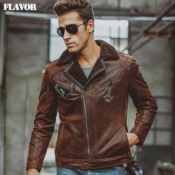 Men's Genuine Leather jacket real leather jackets with faux fur motorcycle bomber jackets coat men