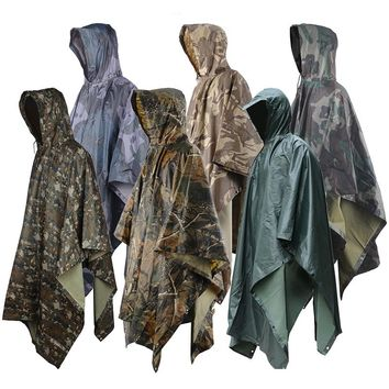 Men Women Outdoor Camping Rain Cape Jungle Hiking Rain Poncho Outdoor Hunting Rain Coat Outdoor Camping Sun Shelter Ground Mat