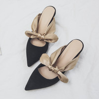 Handmade women pumps genuine leather spring 2017 new office lady high heels slip-on pointed toe mules shoes big size 41 42 43