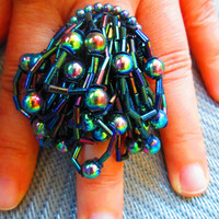 Iridescent Beaded Ring//Made in Chicago// Unusual Ring// Statement Ring// Holiday Ring// Eco Ring// Upcycled Vintage// Movement// Colorful