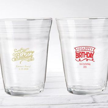 Personalized Party Cup Glass - Happy Birthday