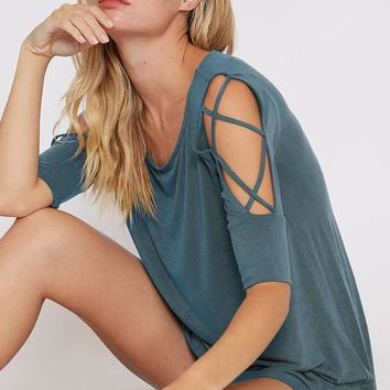Strappy Cold Shoulder Top -Turquoise