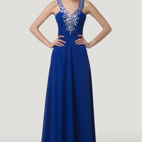 Blue Plunged V-Neck Beaded Lace Up Back Maxi Dress