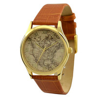Vintage Map Watch (America with roman figure)