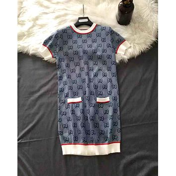 GUCCI 2019 new round neck color matching jacquard double g letter dress blue