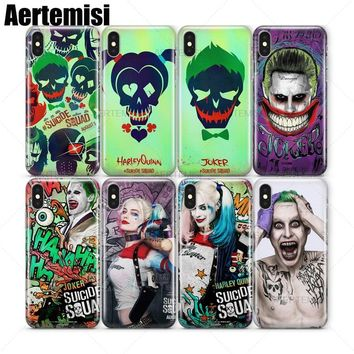 Aertemisi Suicide Squad Joker Jared Leto Harley Quinn Margot Robbie Clear TPU Case Cover for iPhone 5 5s SE 6 6s 7 8 Plus X
