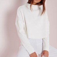 Missguided - Ribbed High Neck Jumper White