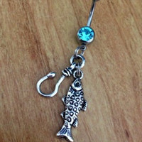 Fishin' Belly Ring Fishing Belly Ring Country Girl Fish and Hook Hook Belly Ring
