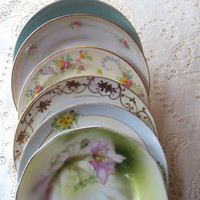 Set of 6 Mismatched Floral China Small Dessert Plates. B&B Plates. Tea Party, Bridal Shower. Plate Collage, Alice in Wonderland. Shabby Chic