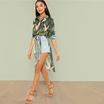 Boho Tropical Print Button Long Sleeve Knot Asymmetrical Hem Blouse Shirt