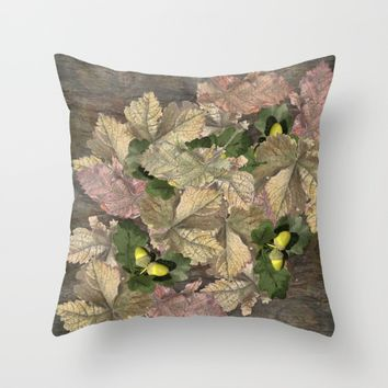 Acorns in Autumn Throw Pillow by anipani