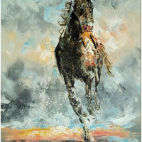 """Abstract Horse Portrait Oil Painting------------""""Determination"""""""