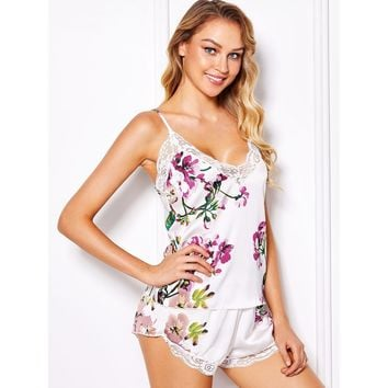 Multicolor Satin Flower Print Pajama Set
