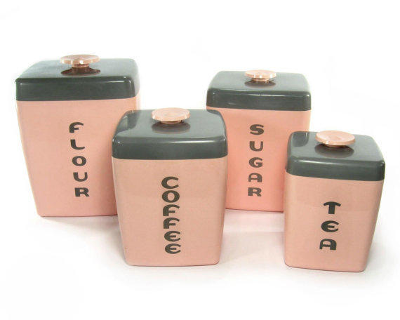 pink kitchen canister set 1950s pink canister set kitchen from retroburgh mid 21281