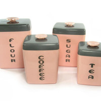 1950s Pink Canister Set / Kitchen Canisters / Vintage Home Decor / Deco Design / Pink and Gray