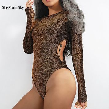 SheMujerSky Sexy Bodysuit Women Hollow Out Sequin Bodysuit body femme Long Sleeve Bodysuits 2017