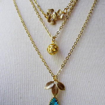 Gold Three Layer Necklace Set, Teal Gemstone, Multi Layered, Unique Gold necklaces