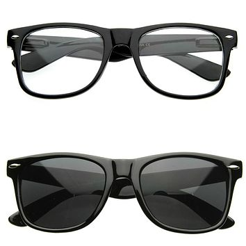 Custom Horned Rim Sunglasses / Glasses 2 Pack Black