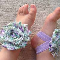 Baby Barefoot Sandals Vintage Purple Floral Piggy Petals - Flower Sandals - Baby Girl Shoes - Baby Girl Sandals - Newborn Shoe - Toe Blooms
