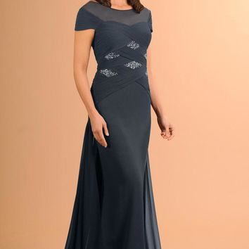 Daymor Couture - Ruched Cap Sleeve Sparkle Evening Gown 614