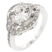 Antique Style Cubic Zirconia Engagement Ring