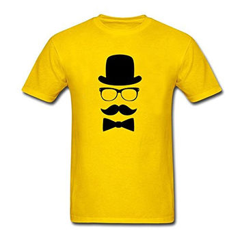 Summer Men Personalized Mustache Face With Top Hat T shirt Yellow M