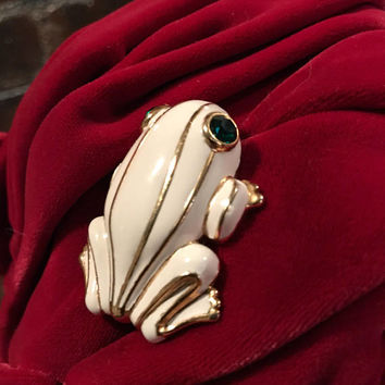 Vintage 80's Cream Enamel & Goldtone Striped Figural Frog with Emerald Green Rhinestone Eyes Collectible Brooch Pin