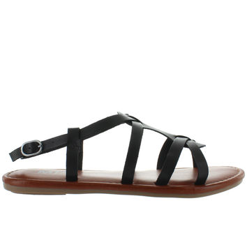MIA Buttercup - Black Leather Strappy Flat Sandal