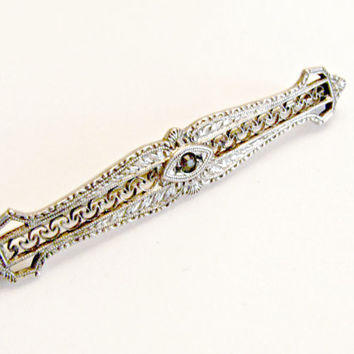 Edwardian Bar Pin, Sterling Silver Filigree, C-clasp, Paste Stone, Signed, For Collar or Lapel, Antique Brooch