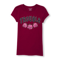 Girls Short Sleeve 'Trouble' Rose Graphic Tee | The Children's Place
