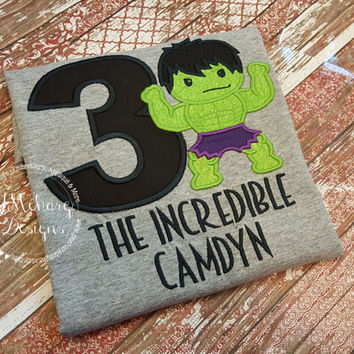 Super Hero Custom embroidered Hulk Inspired Birthday Shirt