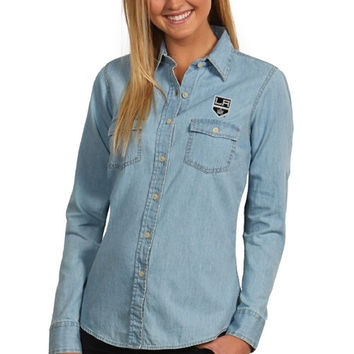 Los Angeles Kings Antigua Women's Chambray Long Sleeve Button-Up T-Shirt – Light Blue