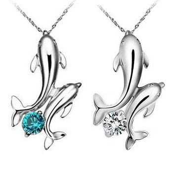 Cute Silver Plated Double Dolphins Pendant Chain Necklace Lady Jewelry US Stock