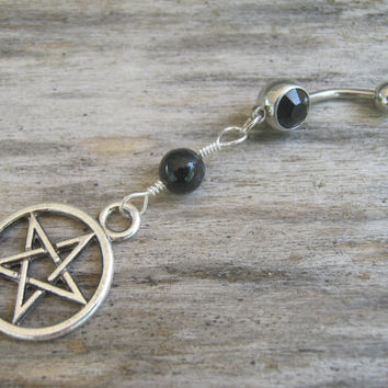 Pentacle Belly Ring, Black Agate Belly Button Ring, Birthstone Navel Piercing, Wicca Body Jewelry, Supernatural Pentagram Navel Ring, Pagan