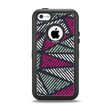 The Abstract Striped Vibrant Trangles Apple iPhone 5c Otterbox Defender Case Skin Set