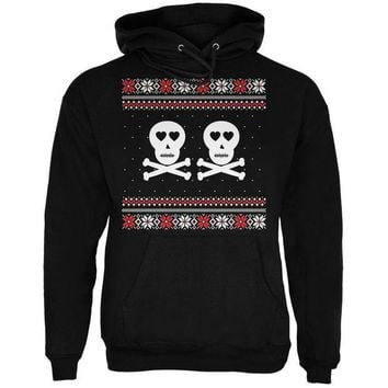 PEAPGQ9 Skull and Crossbones Lovers Ugly Christmas Sweater Black Adult Pullover Hoodie