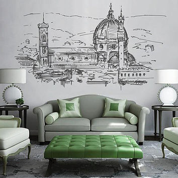 kik2528 Wall Decal Sticker Florence Italy city view bedroom living room