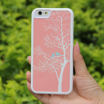 Pink Tree Branch with Loving Birds iPhone 6/6plus/5S/5/5C/4S/4 Tough Case,Samsung Galaxy S5/S3/S3/Note 3 Silicone Rubber Case