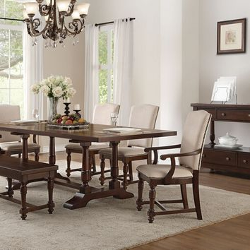 Acme 60830-36-37-38 6 pc Leventis cherry finish wood double pedestal dining table set with padded seats