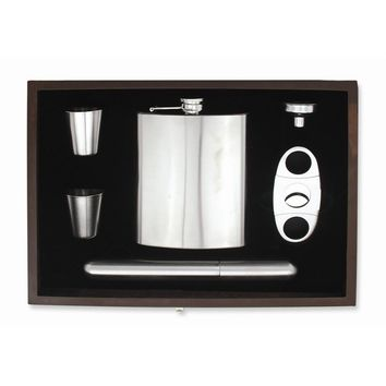 Brushed Stainless Steel Cigar Case and Hip Flask Gift Set - Engravable Gift Item
