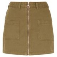 Khaki Front Zip Denim Skirt
