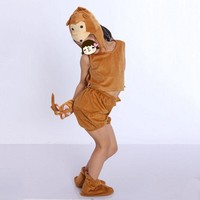 2017 Cute Animal Monkey Cosplay Hallowmas Costume Kids Boy Girls Clothing 3D Headpiece Carnival Party Dress Supplies