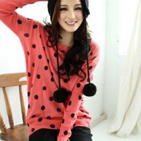 Orange Red Hot Sale Dots Decorated Knit Blouses : Wholesaleclothing4u.com